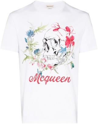 Alexander McQueen deconstructed floral skull T-shirt