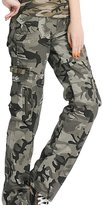 Aubig Cotton Womens Casual Outdoor Military Woodland Camouflage Cargo Pants Size L