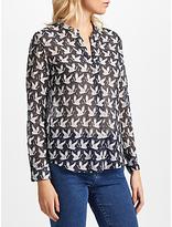 Hartford Carta Clyde Silk Blend Print Shirt, Midnight Deep Navy/White Cranes