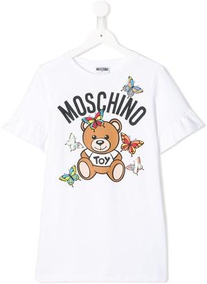 MOSCHINO BAMBINO TEEN frill sleeve T-shirt dress
