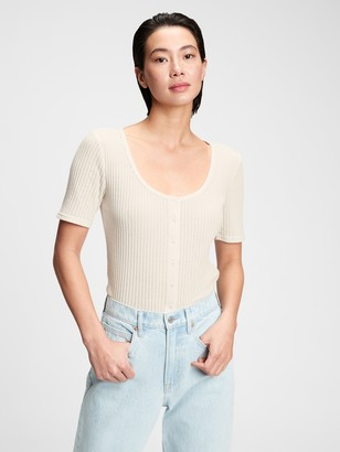 Gap Pointelle Button-Front T-Shirt