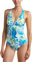 Athena Printed Plunge Halter Swimsuit