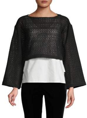 Derek Lam 10 Crosby Layered Crochet and Poplin Top