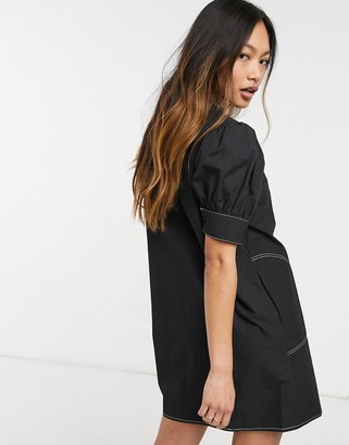Lost Ink mini dress with v-neck collar and contrast stitch