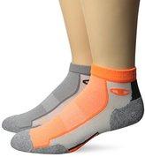 Champion Men's 2 Pack Mid-Ankle Running Socks, Orange/Grey Assortment, 6-12