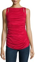 Bailey 44 Ruched-Front Sleeveless Top, Ruby
