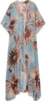 Adriana Degreas - Printed Silk-georgette Kaftan - Light blue
