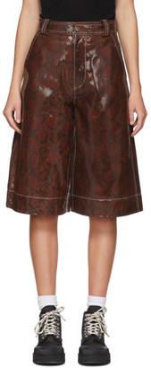 Ganni Brown Leather Snake Foil Shorts
