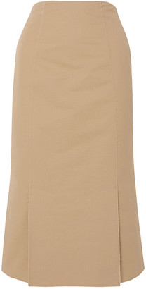 Brock Collection Frayed Cotton-poplin Midi Skirt