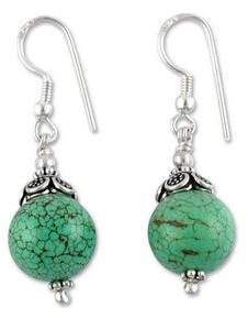 Novica Sterling Silver Beaded Dangle Earrings, 'Dew Kissed'
