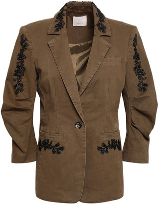 Cinq à Sept Gathered Embellished Cotton-blend Twill Blazer