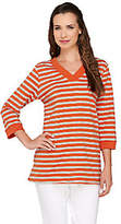 Denim & Co. Active Striped French Terry V Neck Tunic with Pockets