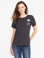 Old Navy EveryWear Halloween-Graphic Curved-Hem Tee for Women