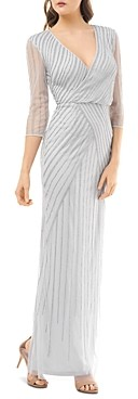 JS Collections Beaded Faux-Wrap Dress