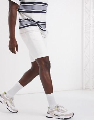 Topman skinny chino shorts in white
