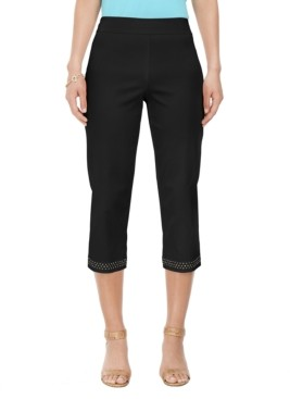 JM Collection Petite Embellished-Cuff Tummy-Control Capri Pants, Created for Macy's