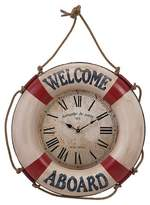 "Aurora Suspended Life Buoy 25"" Wall Clock Red/White"