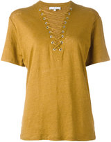 IRO lace up neck top - women - Linen/Flax - XS