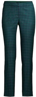 Lafayette 148 New York Manhattan Gingham Step Hem Slim Pants