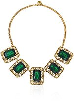 Yochi Emerald Square Statement Necklace, 18.5""