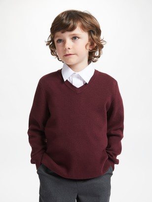 John Lewis & Partners Unisex Cotton V-Neck School Jumper