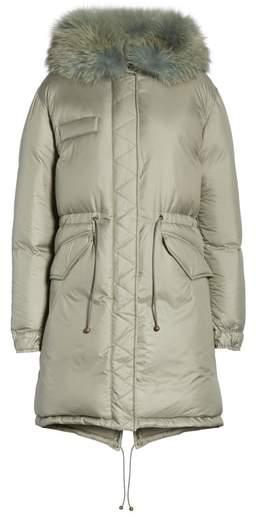 Mr & Mrs Italy Rosemary Genuine Fox Fur Trim Down Fill Puffer Coat
