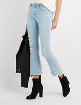 Charlotte Russe Destroyed Frayed Hem Flare Jeans