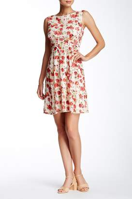 Adrianna Papell Sleeveless Print Lace Fit & Flare Dress