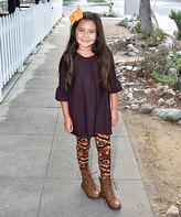 Beary Basics Black Bell-Sleeve Tunic & Pumpkin Leggings - Toddler & Girls