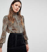 Y.a.s Tall High Neck Animal Print Blouse