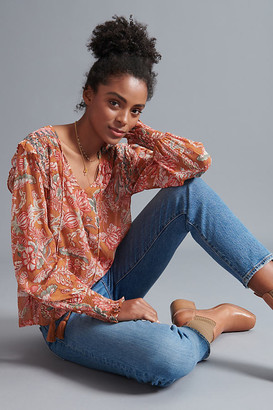 Anthropologie Mina Sheer Peasant Blouse By in Assorted Size XS