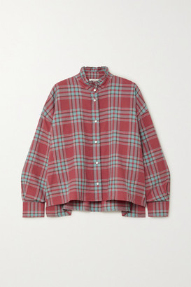 Etoile Isabel Marant Ilaria Oversized Ruffled Checked Cotton-flannel Shirt