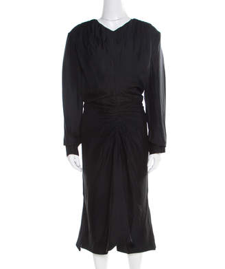 Marni Black Ruched Long Sleeve V-Neck Dress M