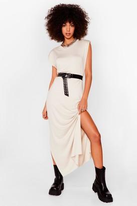 Nasty Gal Womens Shoulder Pad Romance Slit Maxi Dress - Stone