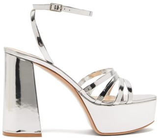 Gianvito Rossi Angelica 70 Leather Platform Sandals - Silver