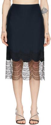Kiki de Montparnasse Navy and Black Charmeuse and Lace Miniskirt