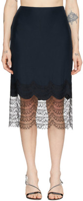 Kiki de Montparnasse Navy and Black Charmeuse and Lace Miniskirt