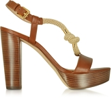 Michael Kors Holly Rope and Luggage Leather Platform Sandal