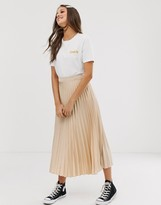 New Look pleated midi skirt in oyster