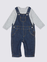 Marks and Spencer 2 Piece Pure Cotton Bodysuit & Dungarees Outfit