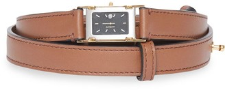 Burberry Faux Watch Detail Leather Belt