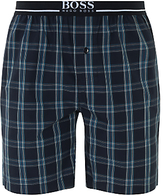 Hugo Boss Boss Urban Woven Cotton Check Lounge Shorts, Blue