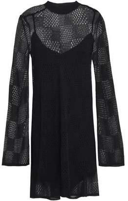 McQ Crochet-knit Wool-blend Mini Dress