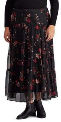 Plus Floral Georgette Peasant Skirt