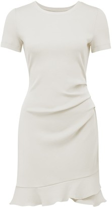 Forever New Annie Rib Short Sleeve Frill Dress - Cream - 10