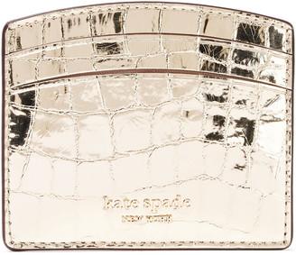 Kate Spade Sylvia Metallic Croc-effect Leather Cardholder