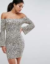 Asos Off Shoulder Bodycon Mini Dress With Trumpet Sleeves In Animal Print