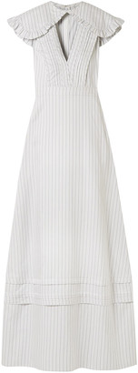 Calvin Klein Cape-effect Striped Silk And Cotton-blend Maxi Dress