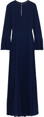 Mikael Aghal Cutout Pleated Crepe De Chine Gown