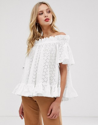 Asos Design DESIGN off shoulder top in broderie